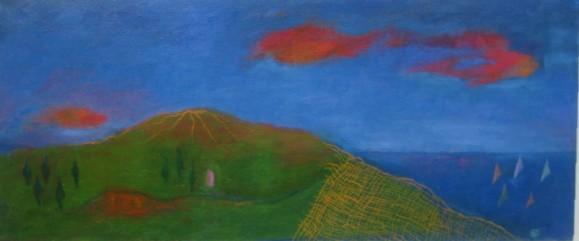 Abstrakti saari, vihreää, puita, vuori. Sininen taivas ja meri, punaisia pilviä.