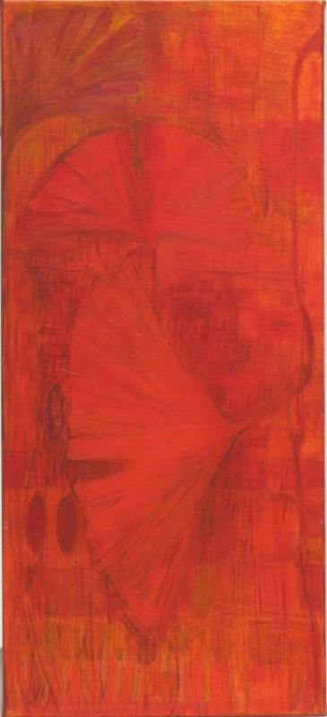 Himmeitä art nouveau -henkisiä kasveja punaisen ja oranssin sävyissä.