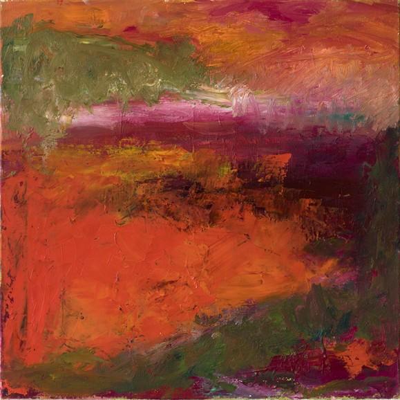 Tekstuurinen abstrakti maalaus. Oranssia, punaista, keltaista, myrkynvihreää.