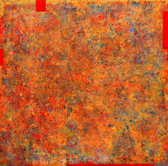 Abstrakti maalaus. Oranssia, punaista, sinistä, tekstuuria.