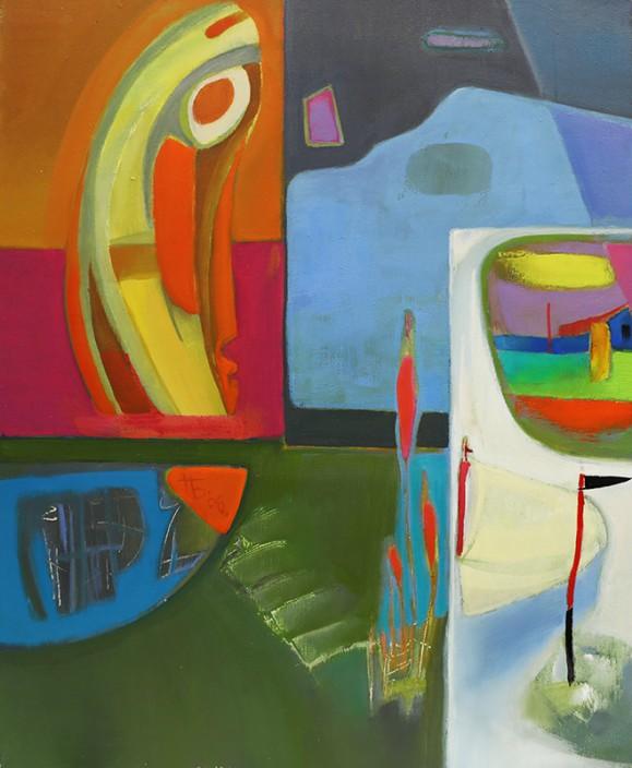 Abstrakti, hieman kubistinen maalaus. Kirjava, kirkkaita värejä ja kummallisia muotoja.