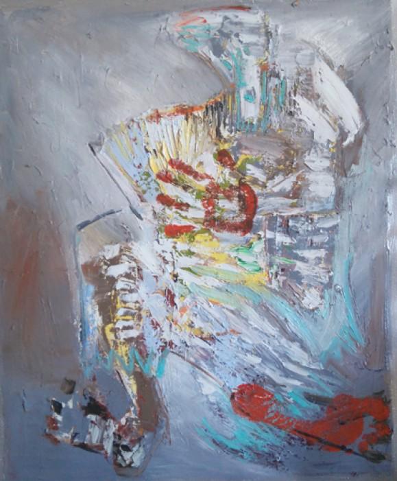 Abstrakti maalaus, tekstuurista epämääräistä maalausjälkeä. Sinertävänharmaa. Punainen käden ja jalanjälki.