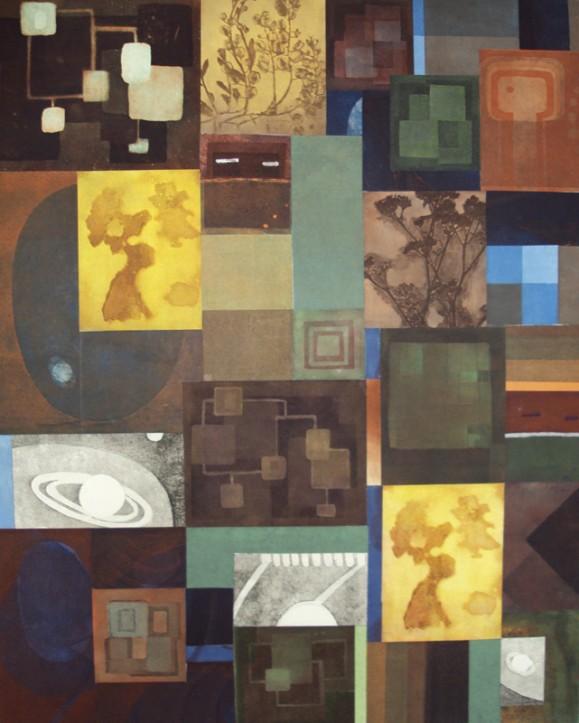 Tilkkutäkkimäinen kollaasi, joka koostuu lukuisista väristä ja kuvista: sinistä, oranssia, ruskeaa, shakkiruutuja, planeettoja, kasveja.