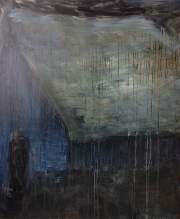 Abstrakti talo, sininen etyseinä jossa musta ovi, harmaa harjakatto. mustaa, valumia.