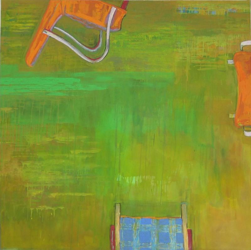 Reunoilta pilkistäviä keinutuolin osia. Vihreän hallitsema värikäs abstrakti tausta.
