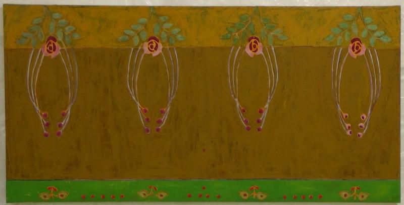 Ylhäällä ivissä neljä koristeellista kukkaa, vaaleanruskea ja ruskea pohja. Alhaalla neljä pienempää kukkaa vihreällä pohjalla.