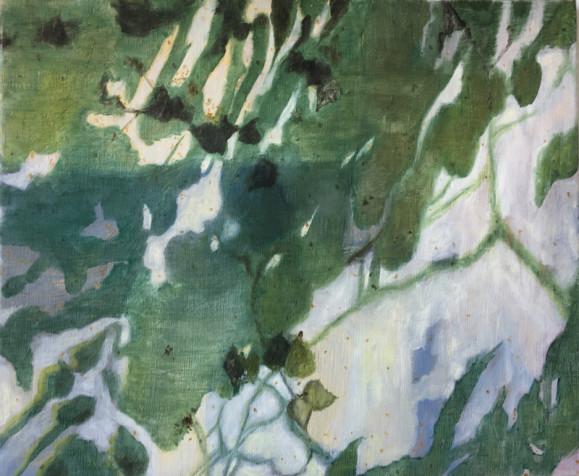 Epämääräisiä muotoja ja lehtiä, vihreää ja valkoista.