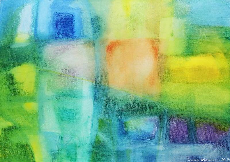 Abstrakti maalaus, vihreän, sinisen, keltaisen sävyjä.