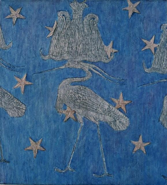 Pitkänokkainen ja -jalkainen haikara, edessään ja takanaan toiset samanlaiset osittain näkyvissä. Sinisellä taustalla tähtiä.
