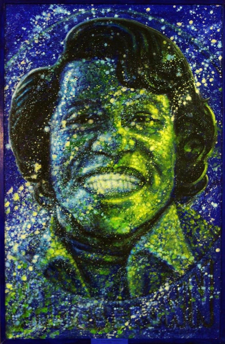 Kosminen muotokuva James Brownisa, joka virnistää leveästi valkoisilla hampailla. Sinistä, vihreää, keltaista, valkoista, mustaa.
