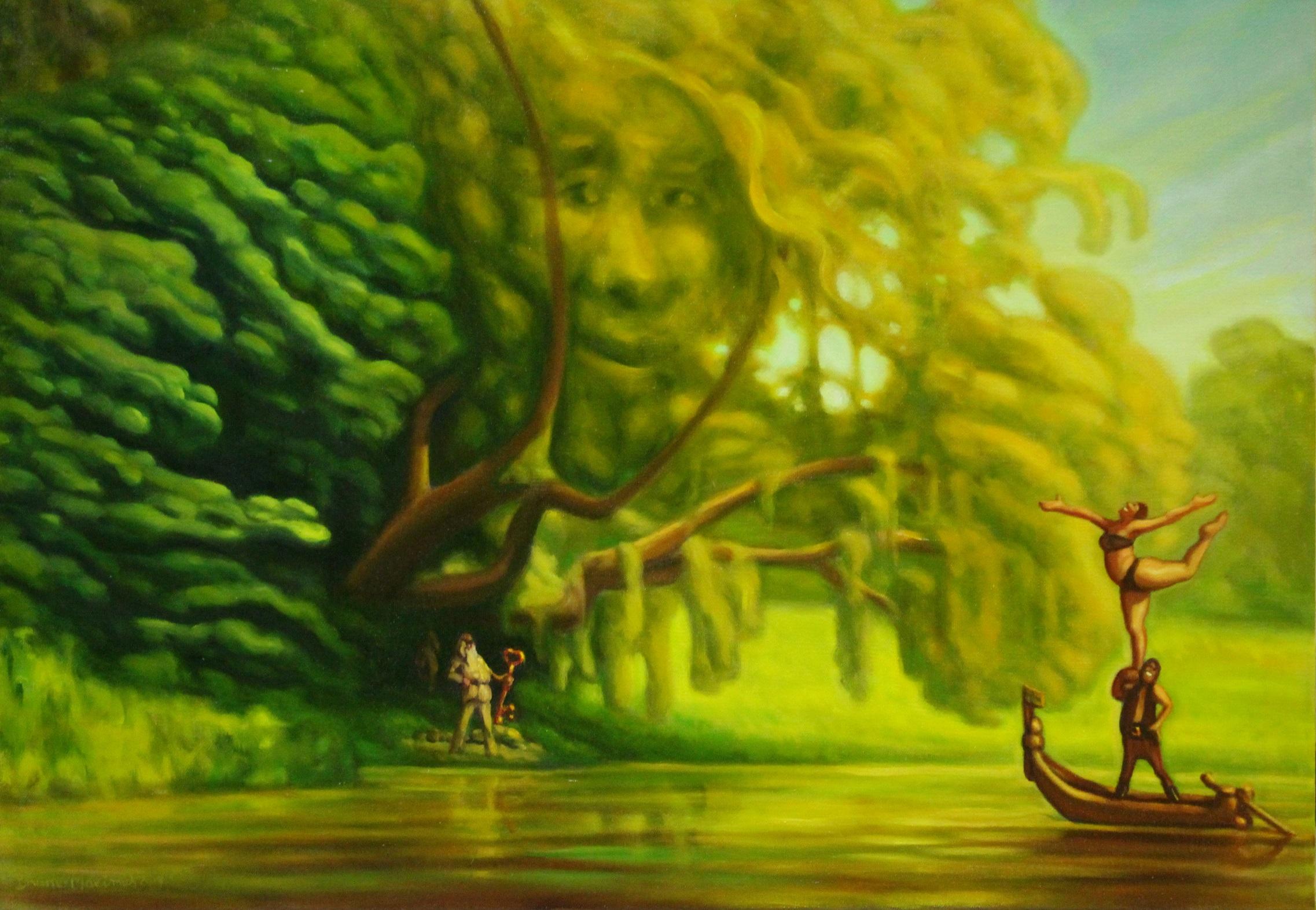 Surrealistinen vihreä näkymä. Puulla kasvot, alla Väinämöinen pitelee suurta avainta. Veneessä kaksi hahmoa, toinen seisoo toisen olalla yhdellä jalalla.