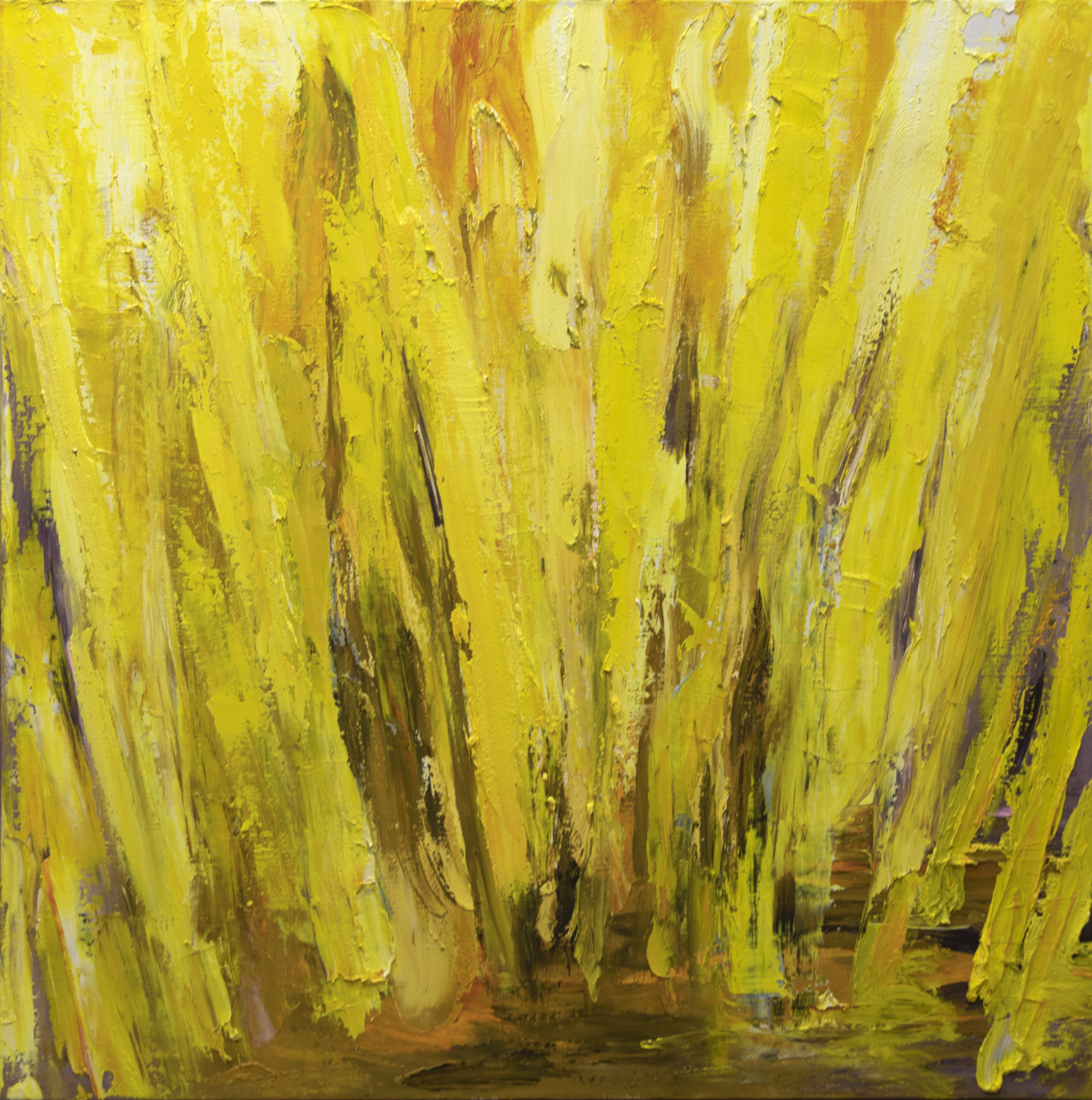 Keltainen abstrakti maalaus, rajuha siveltimenvetoja.