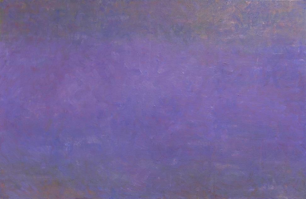Violetin ja sinisen sävyjä sekoittava vähäeleinen maalaus.