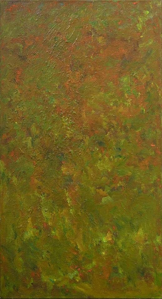 Abstrakti maalaus jossa sekoittuvat vihreän, keltaisen ja orannsin sävyt.