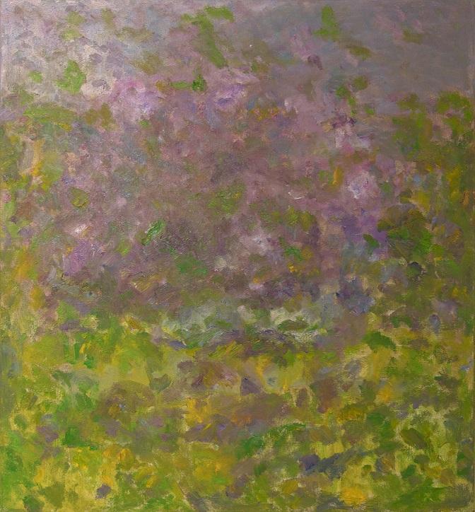 Abstrakti maalaus, kirkkaita vihreän ja keltaisen sävyjä alapuolella, yläpuoli liukuu murretun violetin sävyihin.