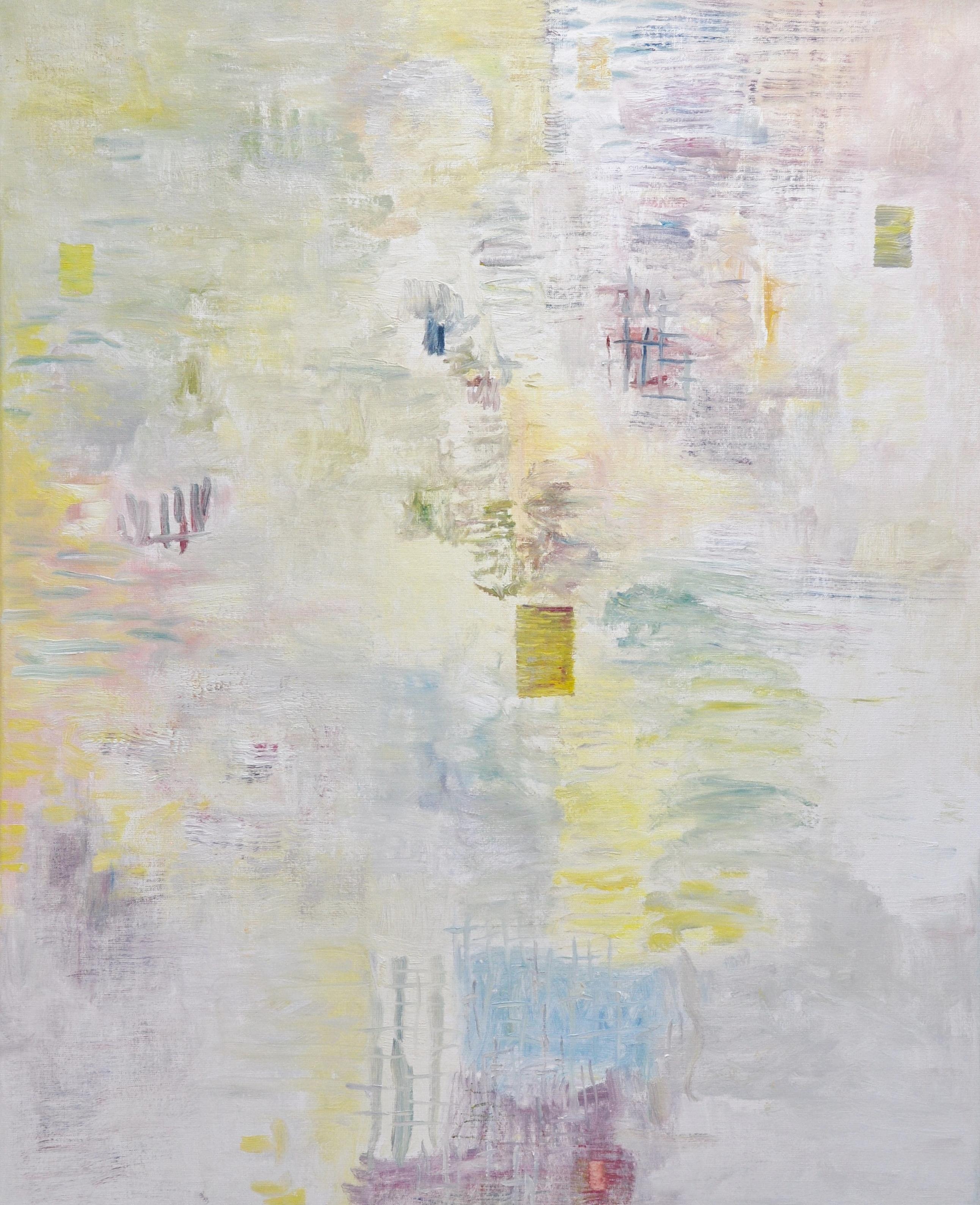 Vaalea, kuulas abstrakti maalaus. Siellä täällä himmeitä värejä: keltaista, punaista, sinistä. Sivellinjälkeä.