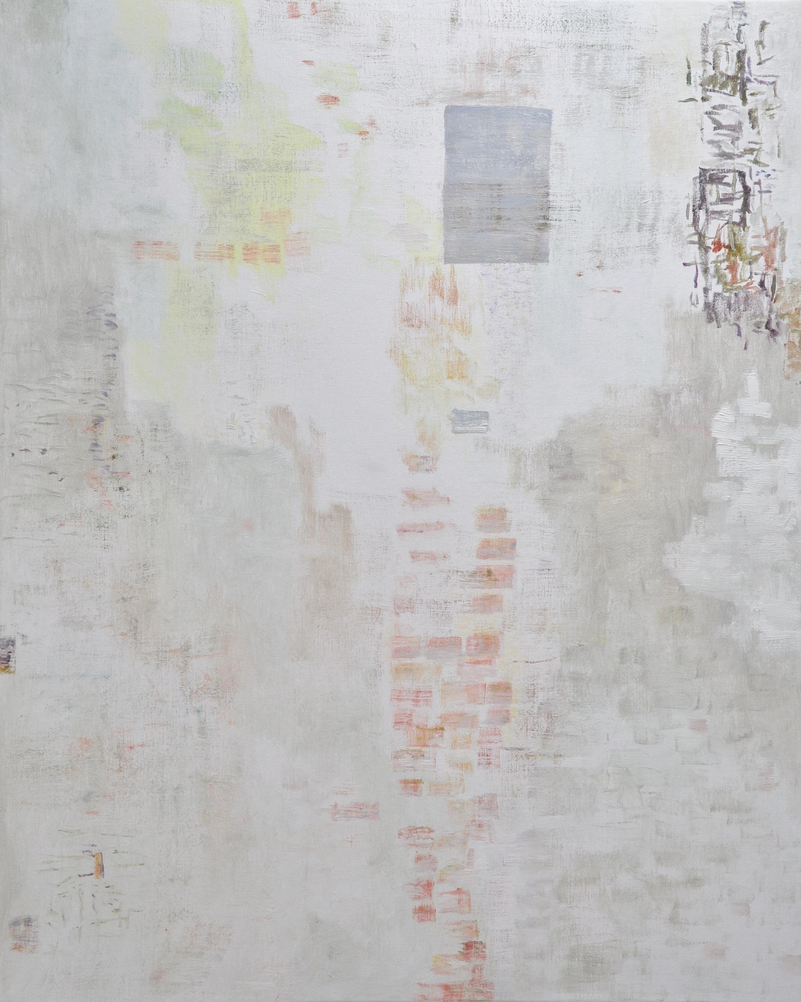 Vaalea abstrakti maalaus, häilyviä värejä, punaista ja oranssia. Himmeitä maalausjälkiä. Oikealla ylhäällä harmaa suorakulmio ja sekavaa maalaujälkeä.