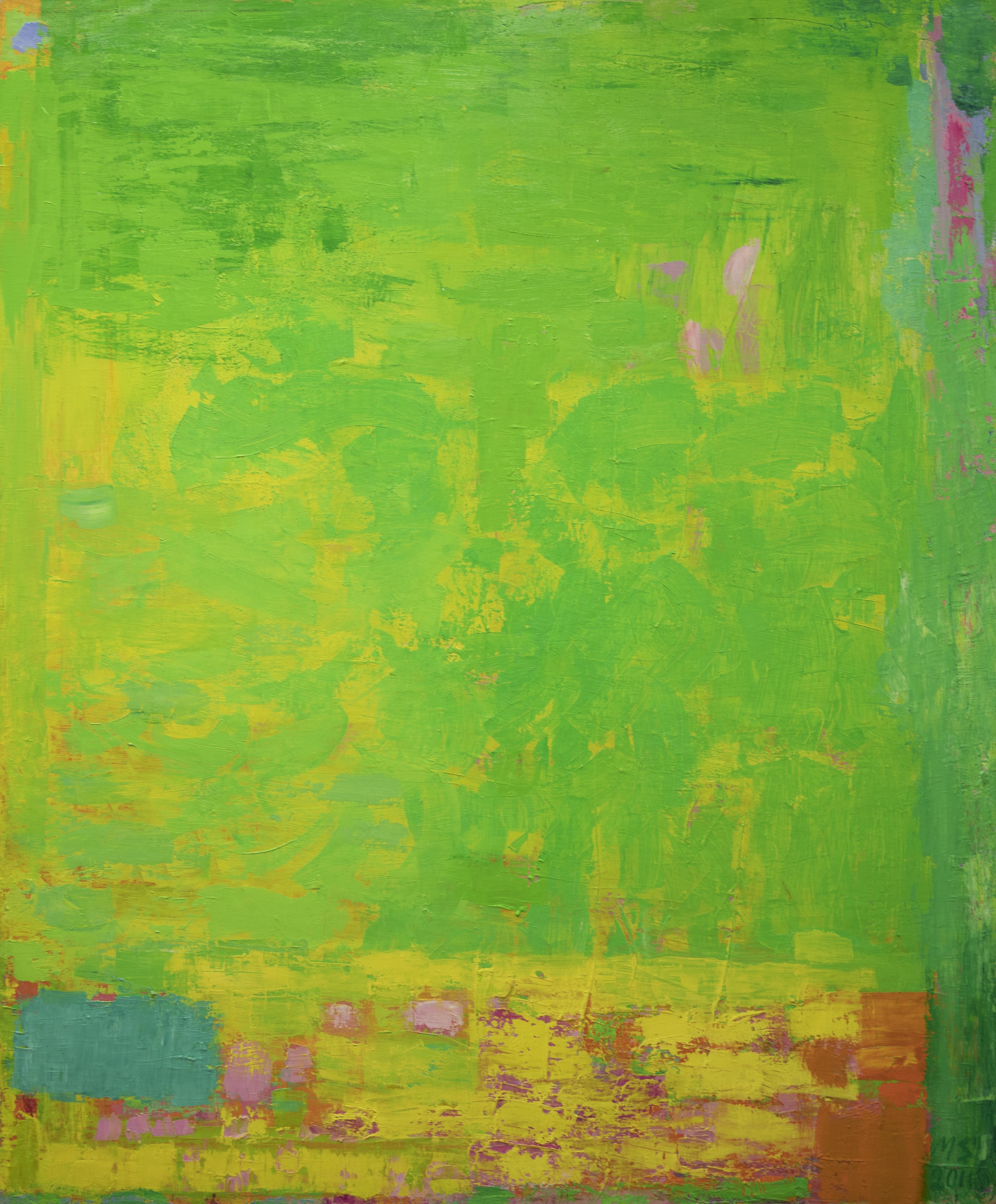 Kellanvihreä abstrakti maalaus. Siellä täällä pinkkiä, oranssia, sinistä.