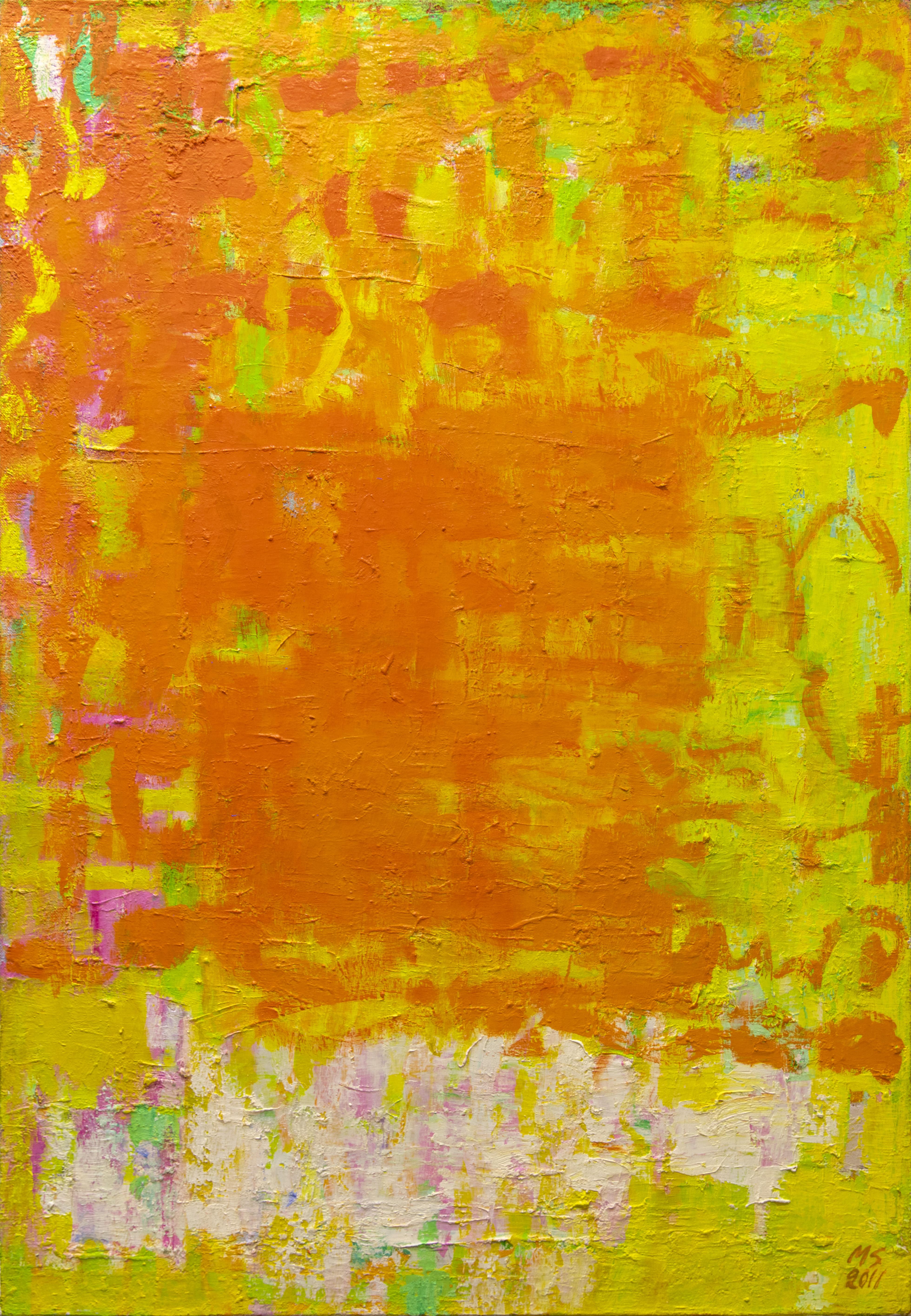 Kirkas abstrakti maalaus, paljolti oranssia ja keltaista, siellä täällä vihreää, pinkkiä ja valkoista.