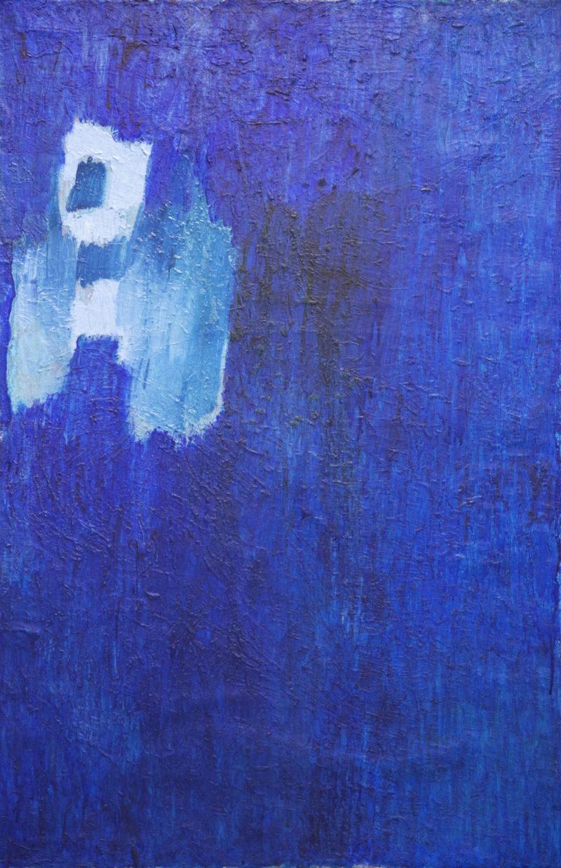 Sininen tekstuurillinen abstrakti maalaus.