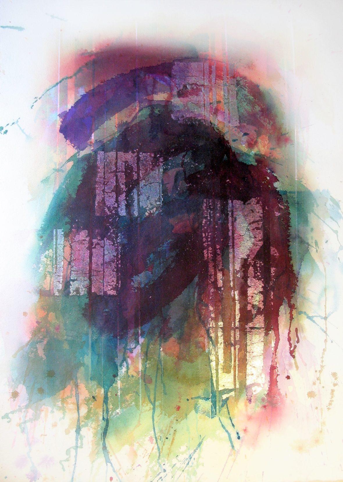 Värikäs akvarelli, paljon valumia ja roiskeita.