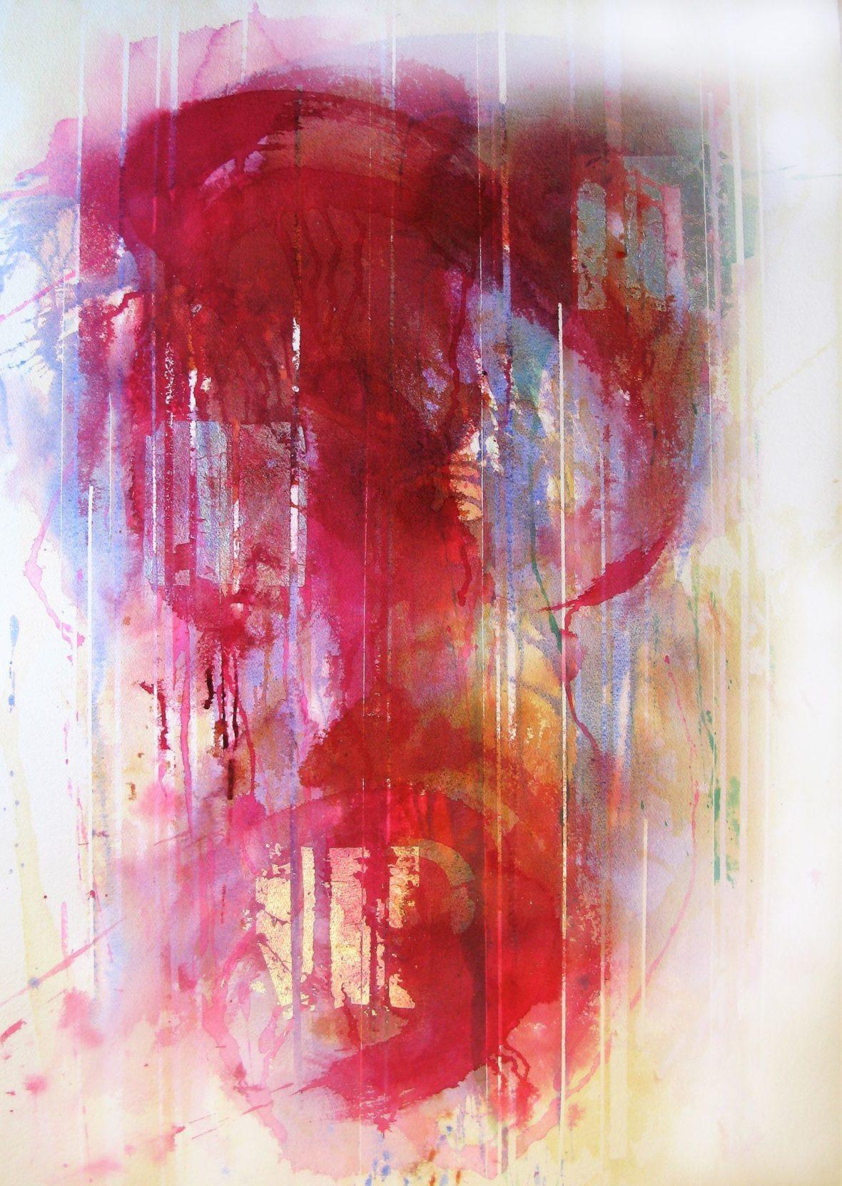 Abstrakti maalaus. Enimmäkseen punaista, vivahteita sinistä, keltaista, vihreää. Runsaita valumia.