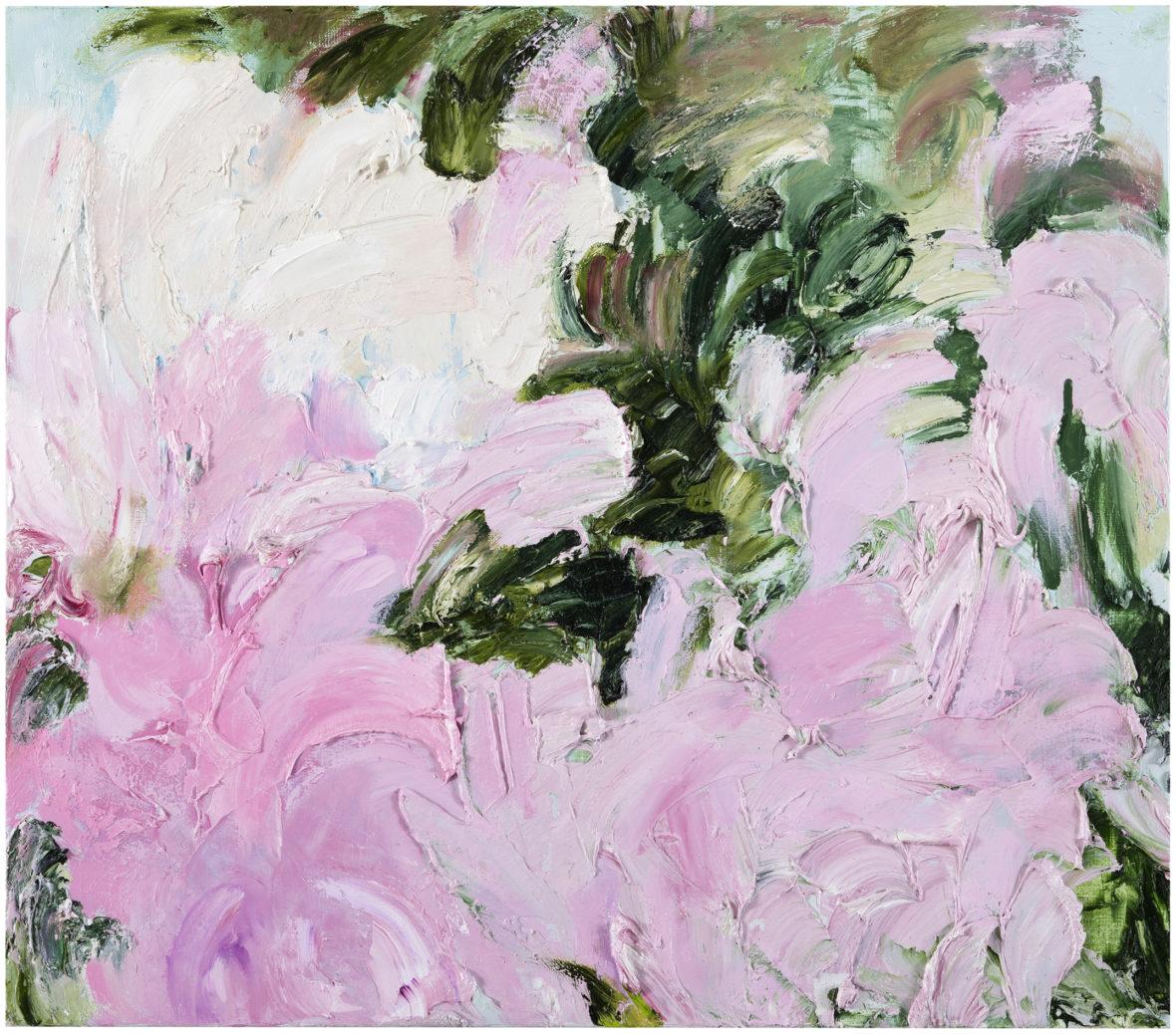 Vaaleanpunaisia ja vihreitä abstrakteja muotoja, paksua maalikerrosta.