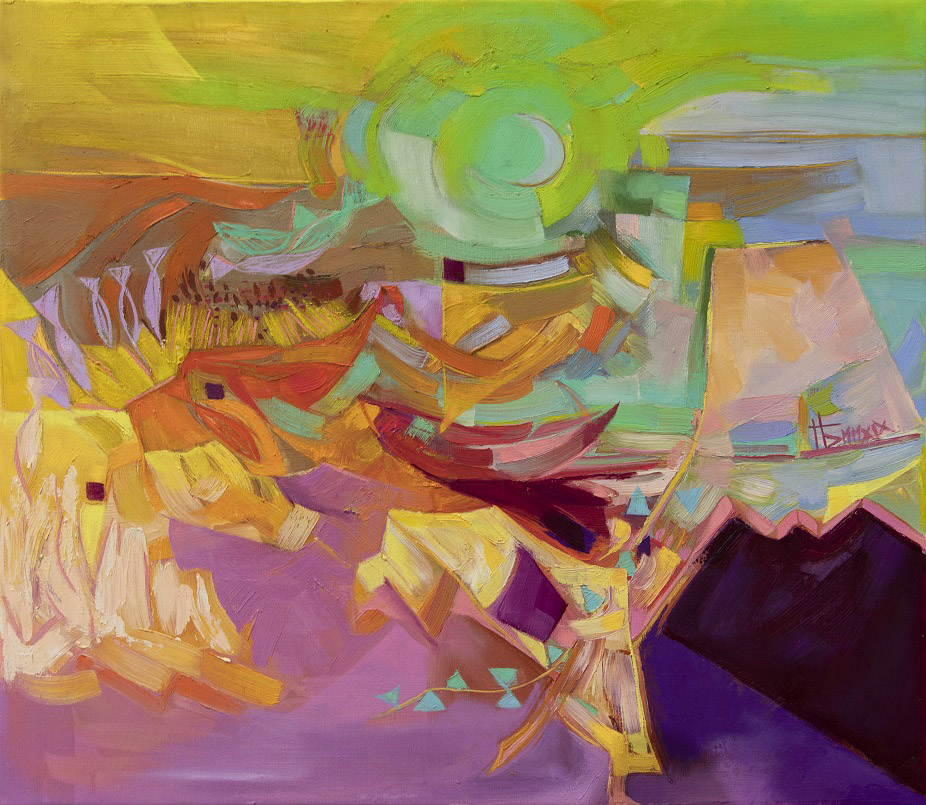 Kirjava, kirkassävyinen abstrakti maalaus, jossa lukuisia kubistisia muotoja.