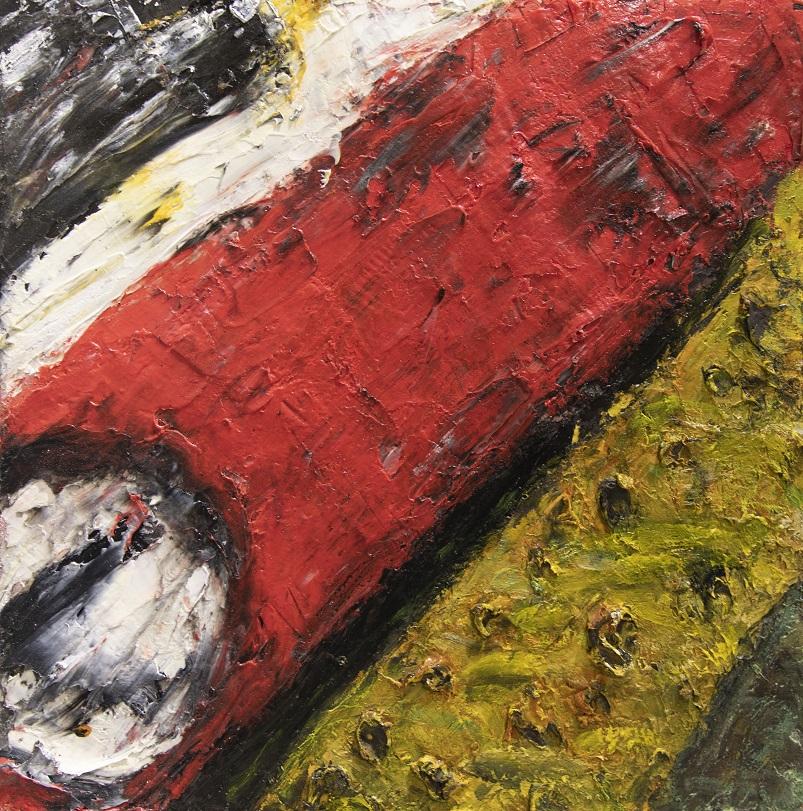 Abstrakti ekspressionistinen maalaus, jossa paksua tekstuuria. Suuri punainen alue, keltainen alue, erotettu mustalla viivalla. Mustavalkoinen pilkku.
