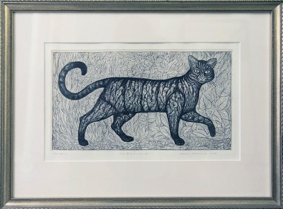 Kaunis kissa katsoo katsojaan päin, taustalla kasvistoa. Koristeellinen harmaa kehys.