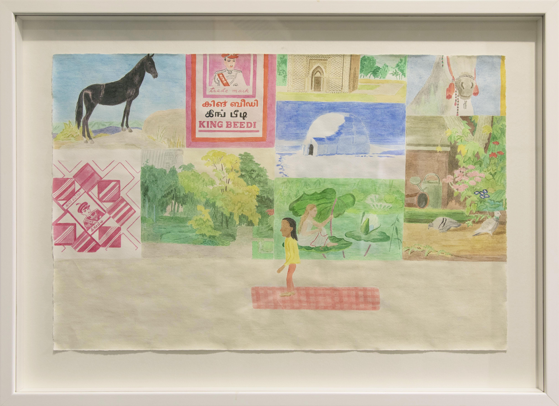 Erinäisiä piirroskuvia - hevonen, juliste, iglu, toinen hevonen, maisema, lumpeella istuva tyttö, puluja - joiden edessä pieni tummaihoinen hahmo seisoo matolla.
