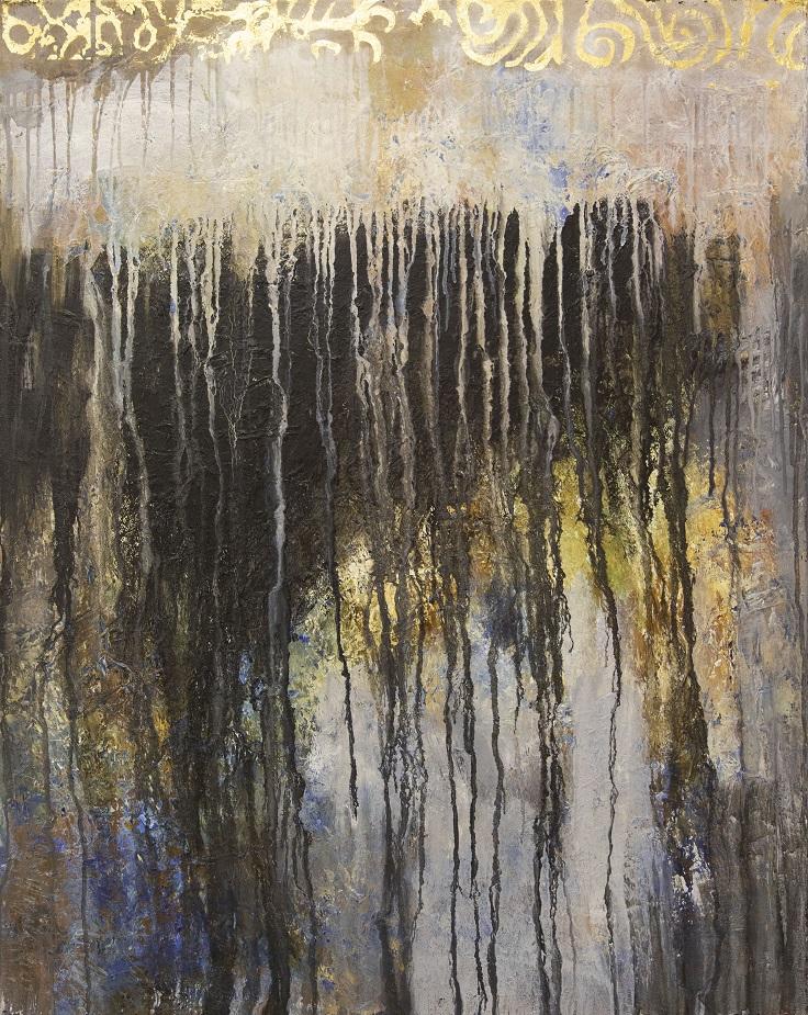 Abstrakti rosoinen maalaus. Ylälaidassa kultaista kuviota. Runsaita valkoisia ja mustia valumia. Sinistä, harmaata, kullankeltaista.