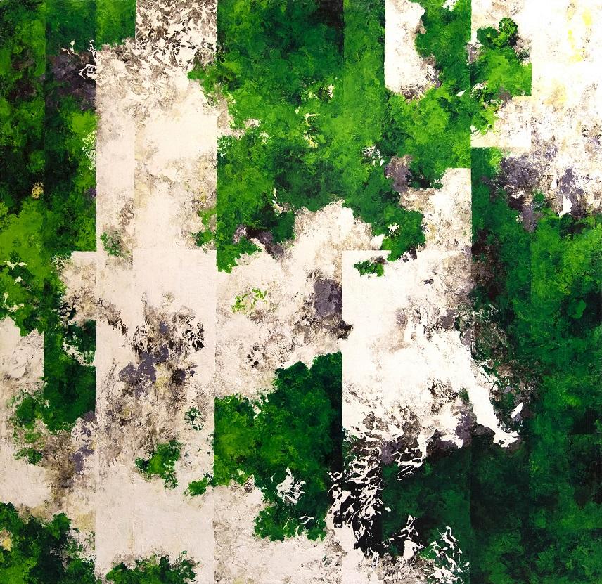 Häilyviä kirkkaanvihreitä ja valkoisia raitoja, mustaa ja harmaata, tekstuurillista maalausjälkeä.