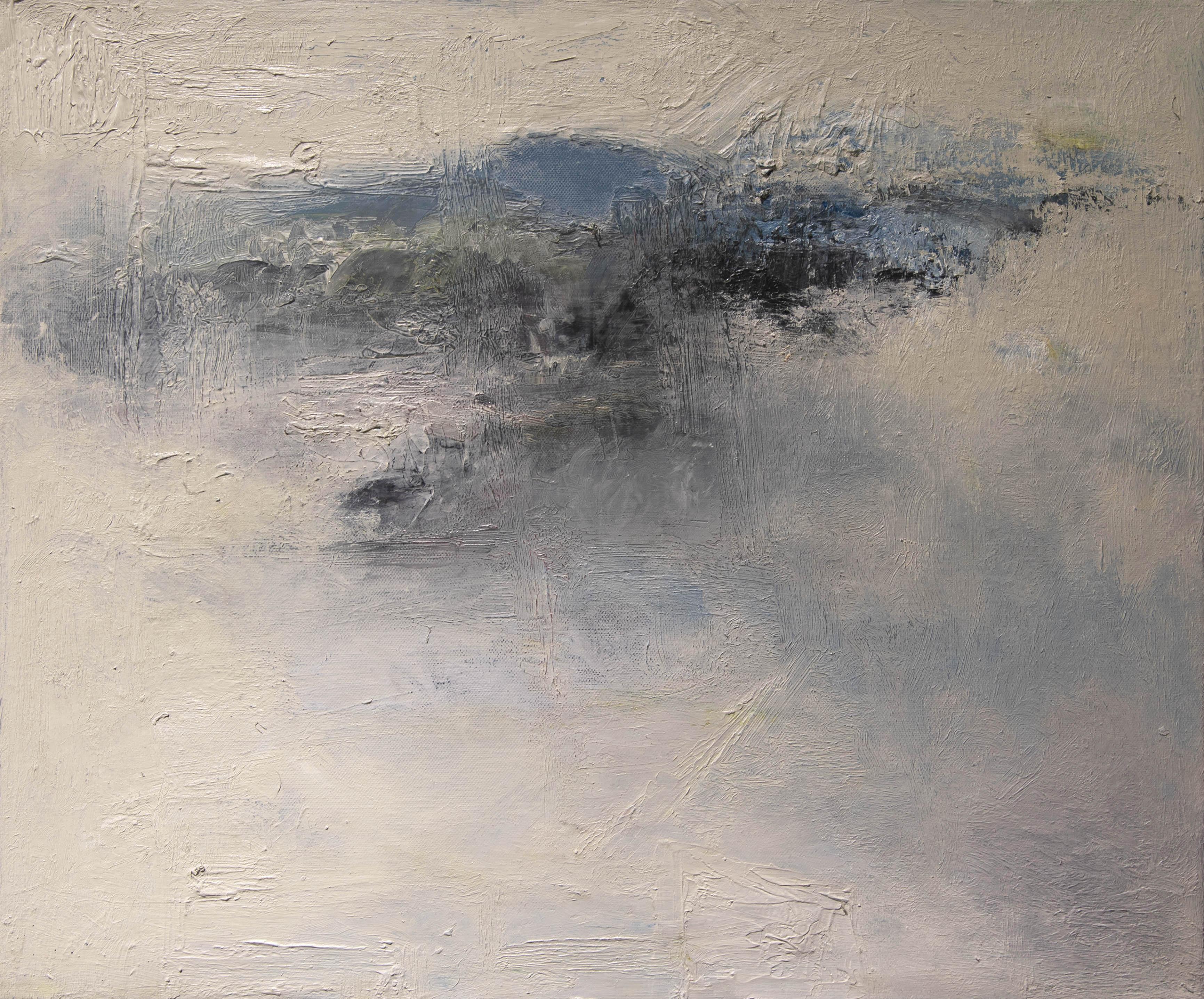 Abstrakti, valkoista tekstuuria jonka lomassa häivähdys tummuutta ja sinistä.