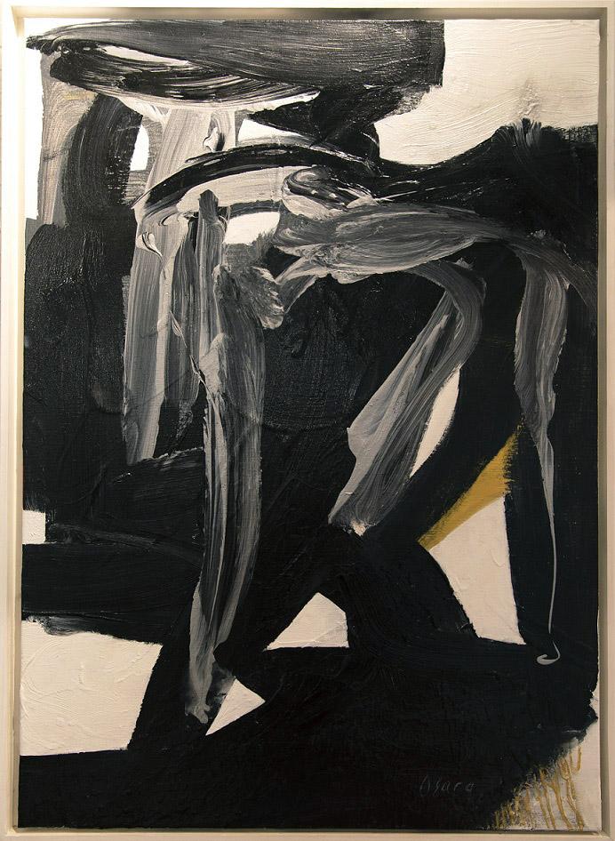 Abstrakti maalaus, joka koostuu paksuista mustista siveltimenvedoista vakoiselle, ripauksia harmaata ja keltaista.