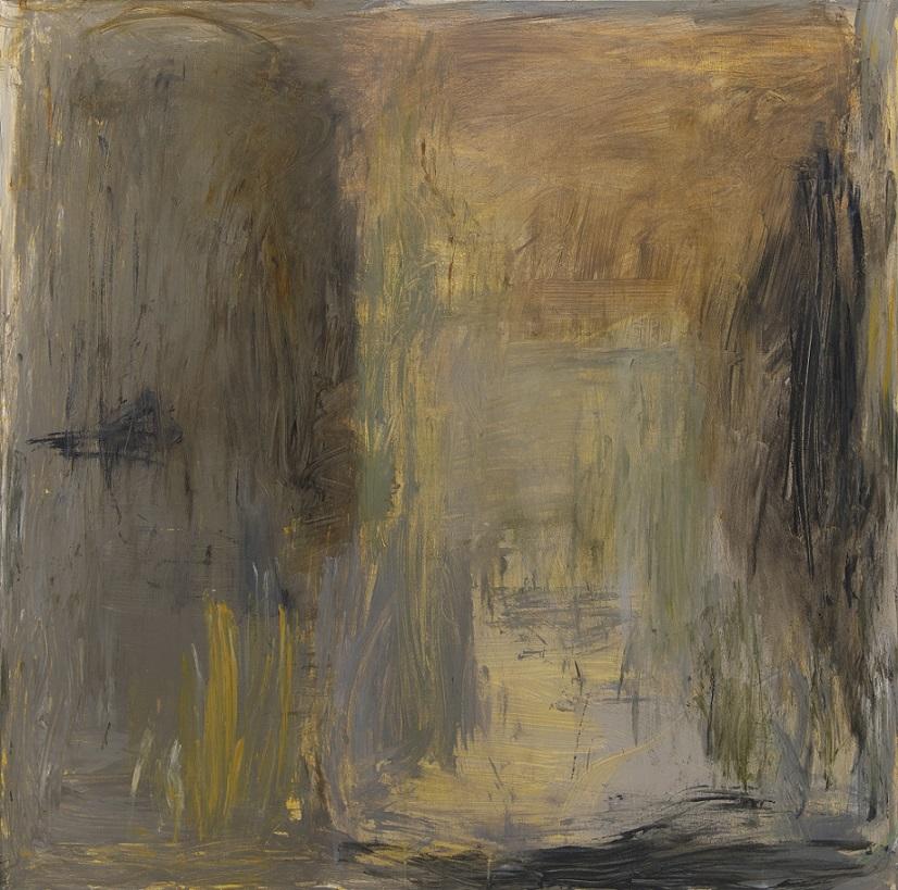 Ekspressionistinen abstrakti maalaus, jossa harmaata, ruskeaa, keltaista, mustaa.