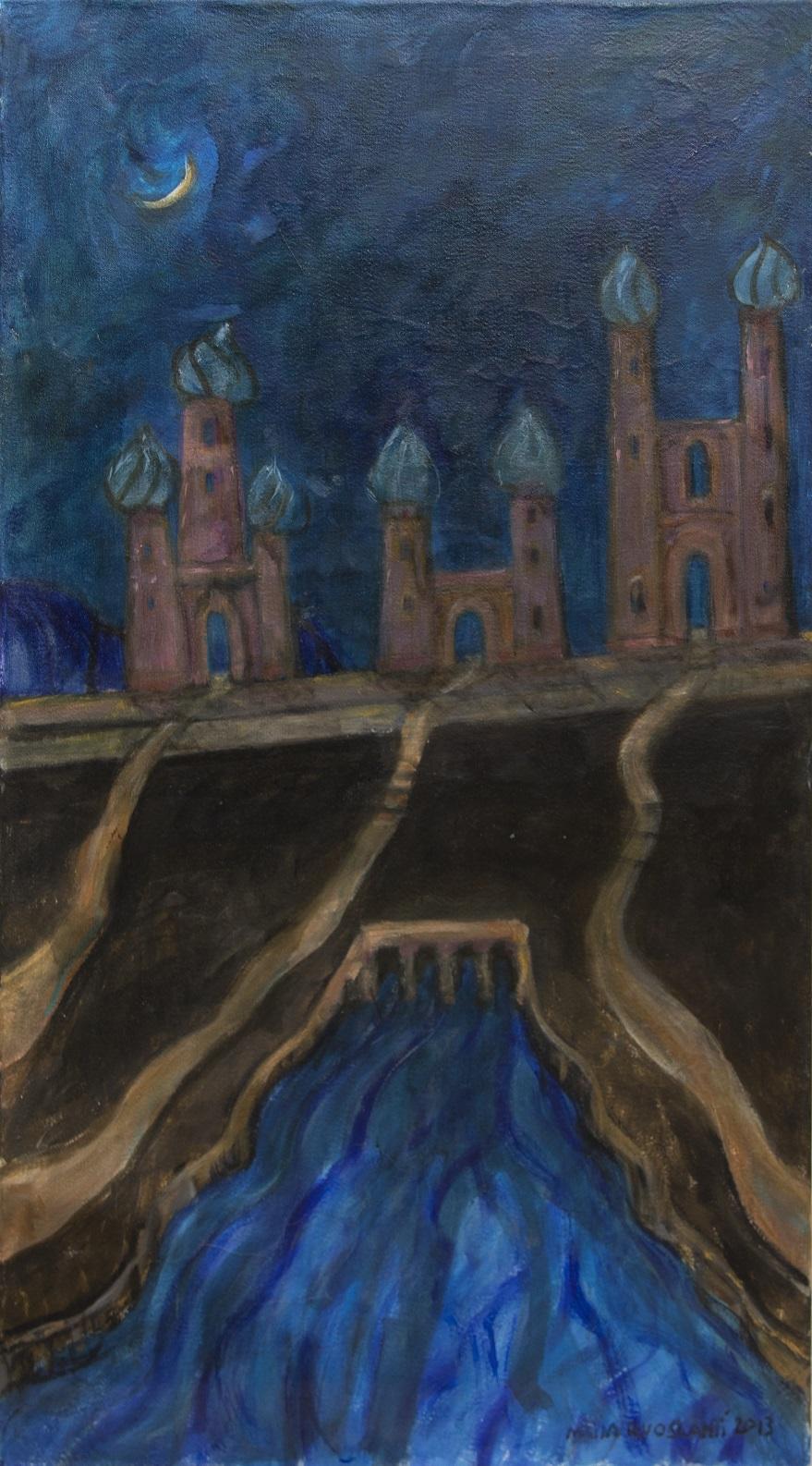 Etualalla vuolas sininen joki. Ruskeassa maastossa tiet johtavat horisontissa kohoaviin sipulitornillisiin kirkkoihin. Yötaivaalla kuunsirppi.