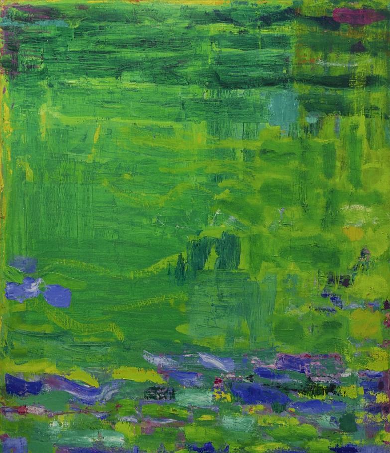 Vihreä abstrakti maalaus, jossa häivähdyksiä keltaista ja violettia, alalaidassa myös sinisiä siveltimenvetoja.