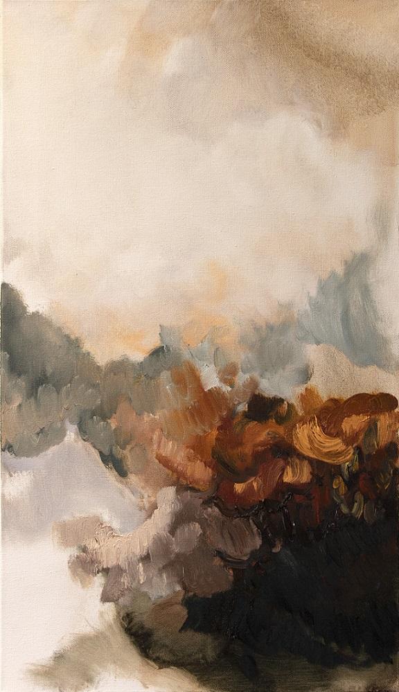 Abstrakti maalaus valkoisella pohjalla, ruskean, harmaan ja mustan sävyjä.