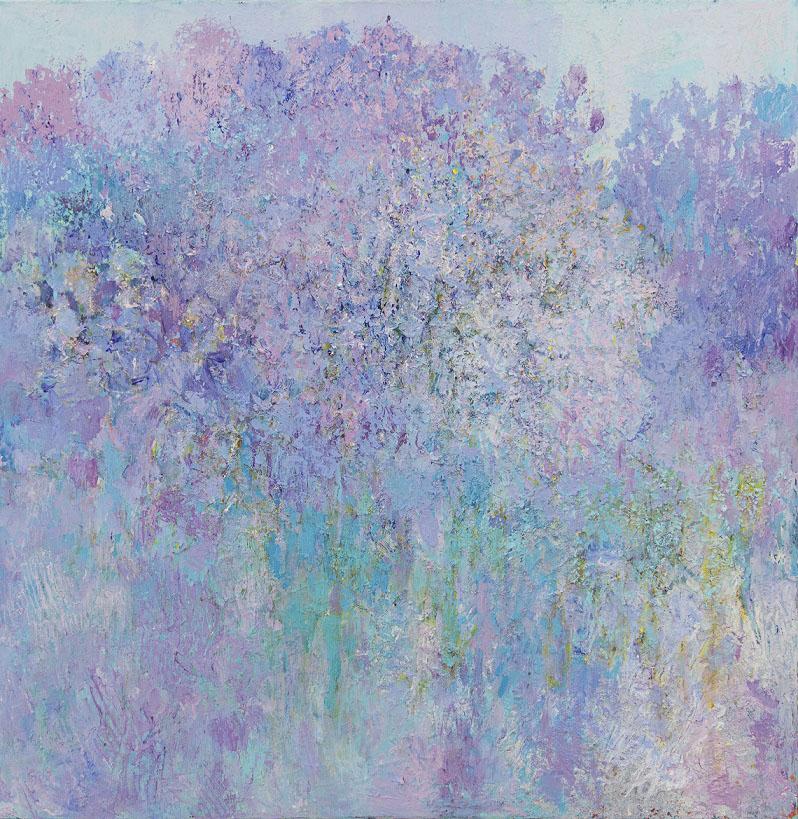 Tekstuurillinen abstrakti maalaus, heleitä sinisen sävyjä, joiden seassa purppuraa, turkoosia, keltaista.