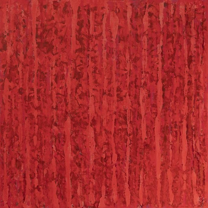 Minimalistinen, tekstuurillinen punainen maalaus.