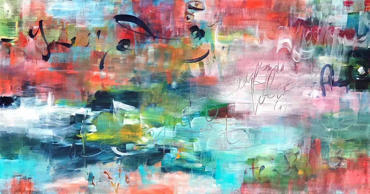 Kirjava abstrakti maalaus, siveltimen jälkeä ja raaputuksia.