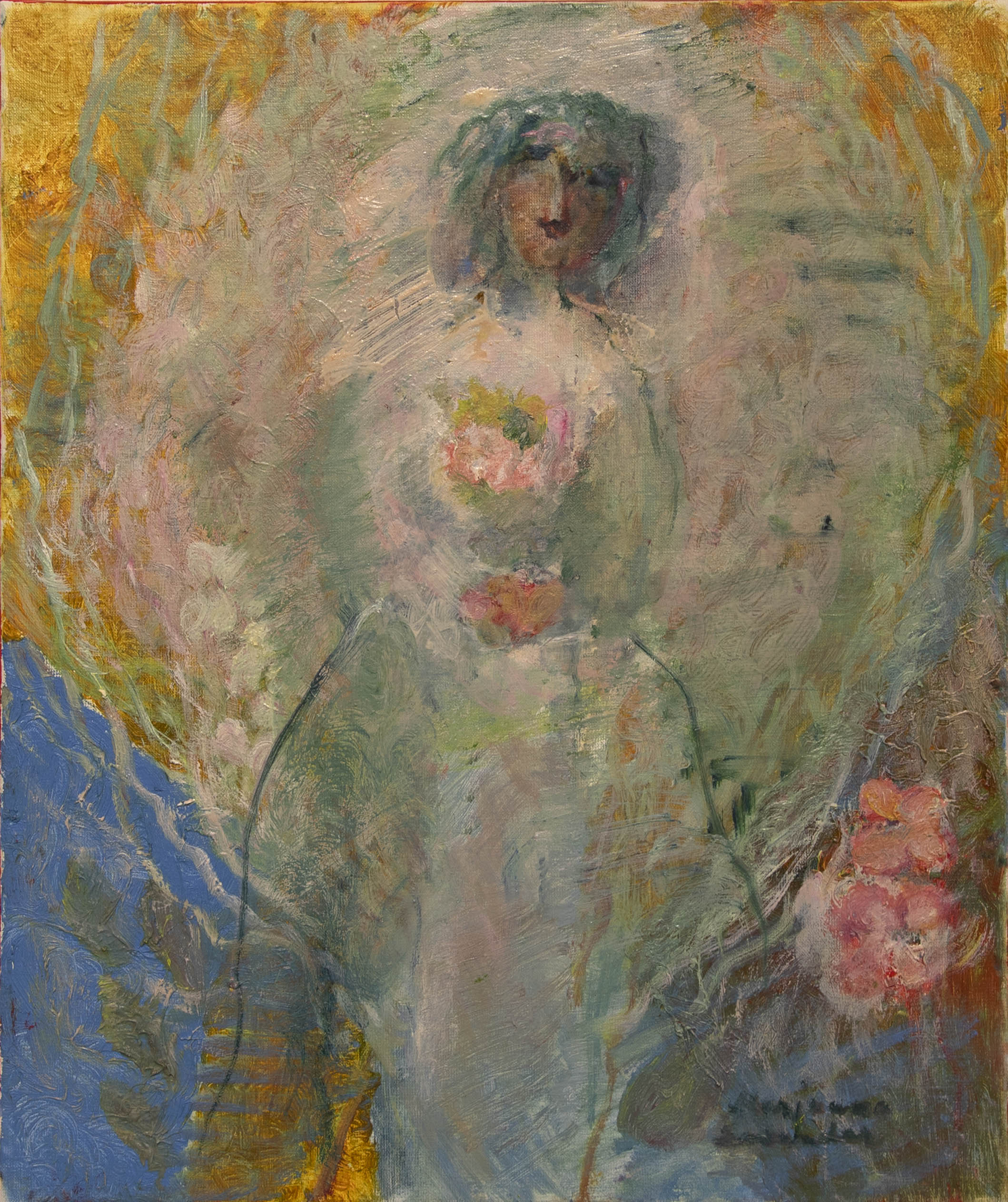Aavemmainen naishahmo pitelee kukkakimppua ekspressionistisen pilven keskellä, taustalla sinistä ja keltaista.