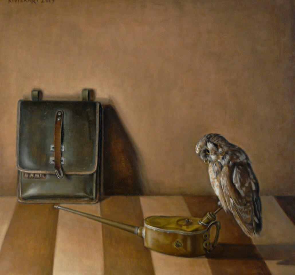 Laukku, jonkinlainen ruisku jonka päällä istuu pöllö, ruskealla raidallisella tasolla, takana ruskea seinä.