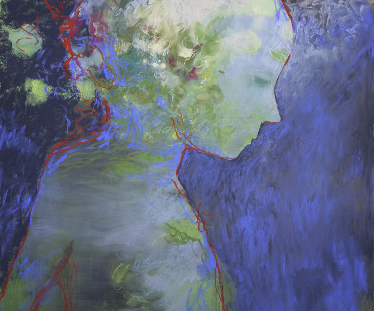 Ekspressionistisesti maalattu vihreä pikkulapsi profiilissa, punaiset ääriviivat, sininen tausta.