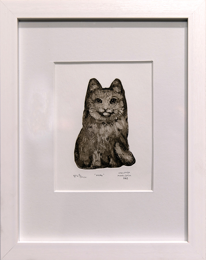 Söpö mustavalkoinen kissa valkoisella taustalla, valkoiset kehykset.