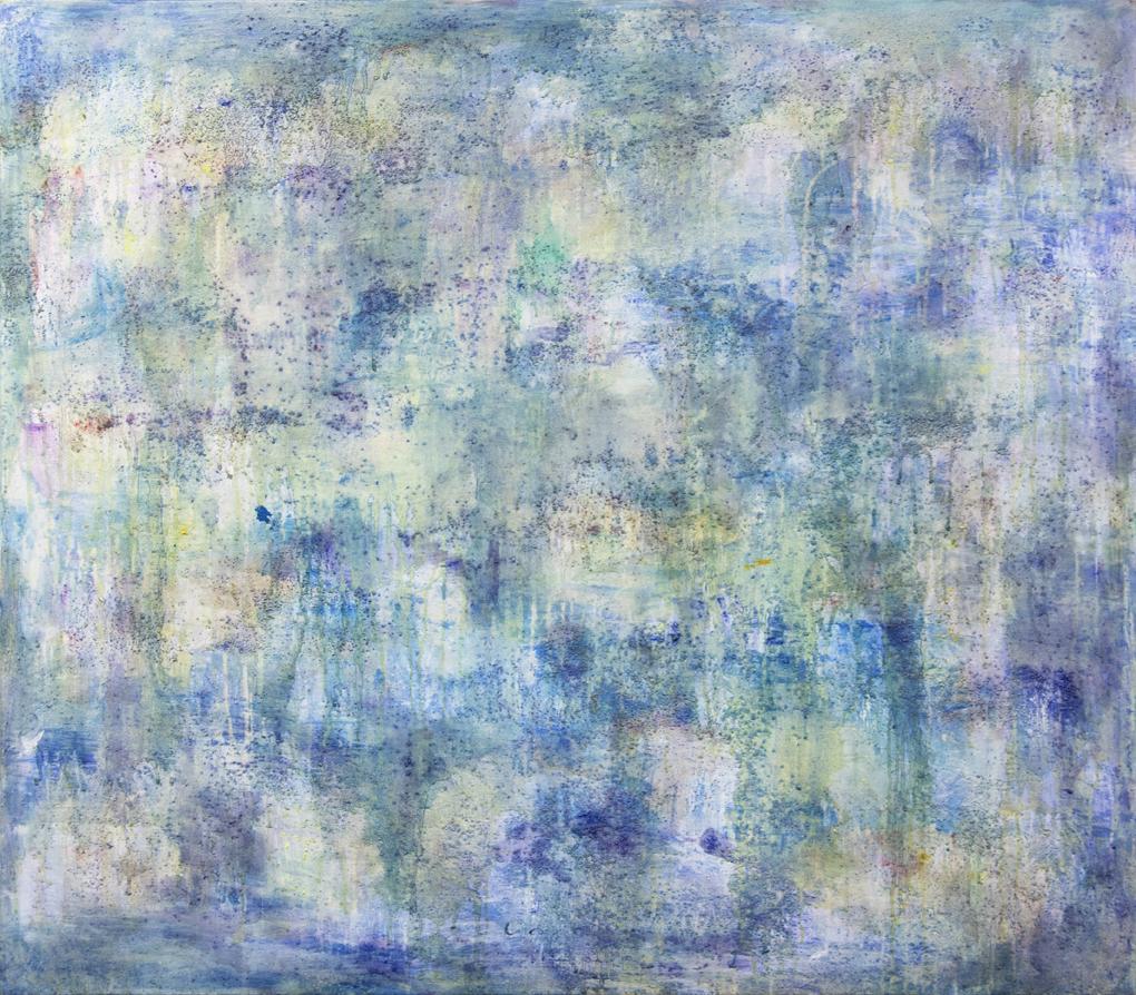 Abstrakti sininen maalaus, siellä täällä häivähdyksiä punaista ja keltaista. Vahvaa tekstuuria.