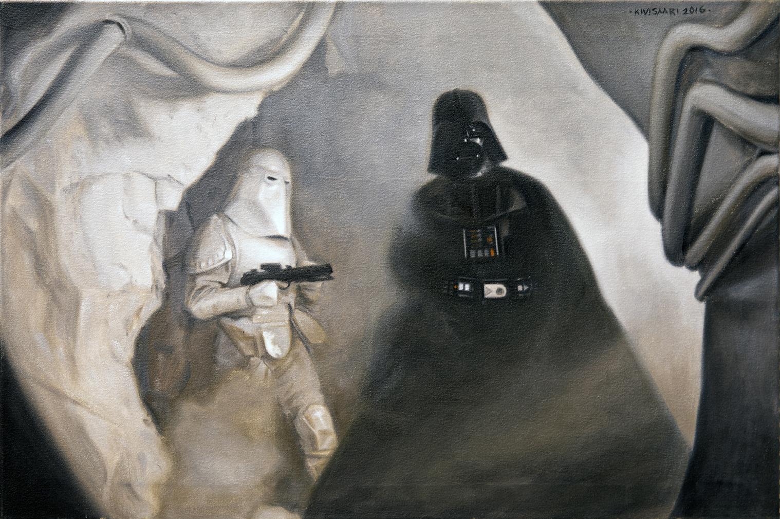 Darth Vader ja stormtrooper mekaanisen harmaassa ympäristössä.