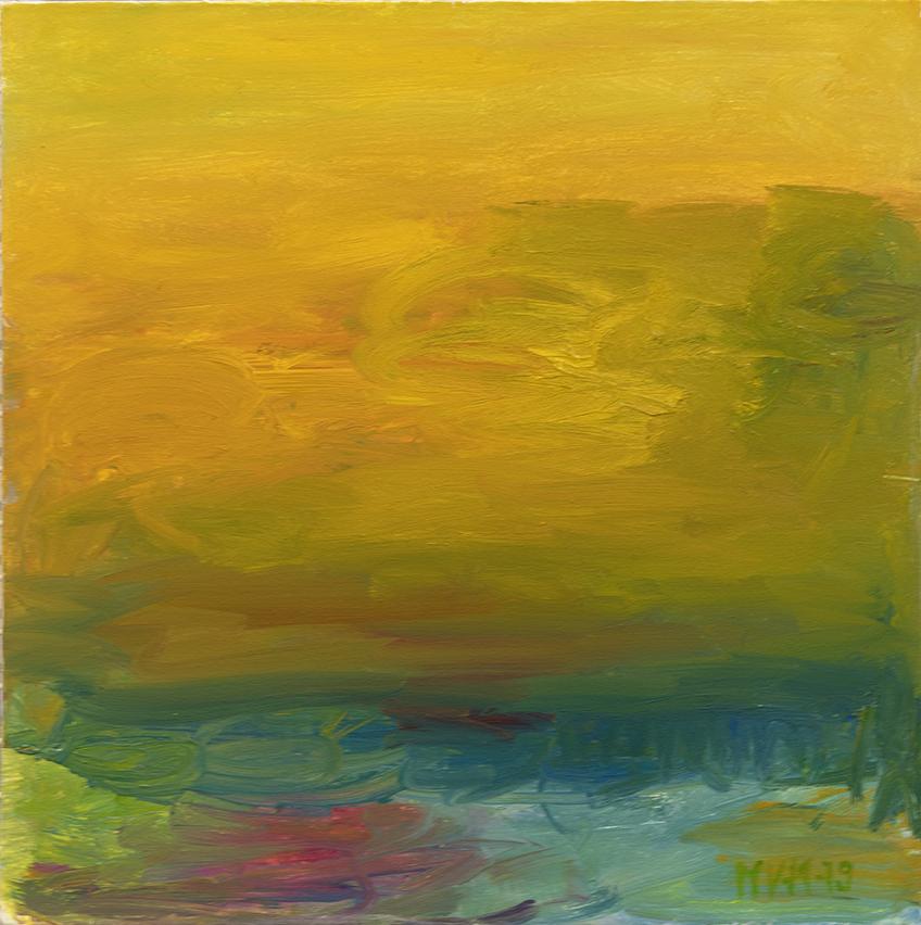 Abstrakti maalaus, jota hallitsee keltainen.