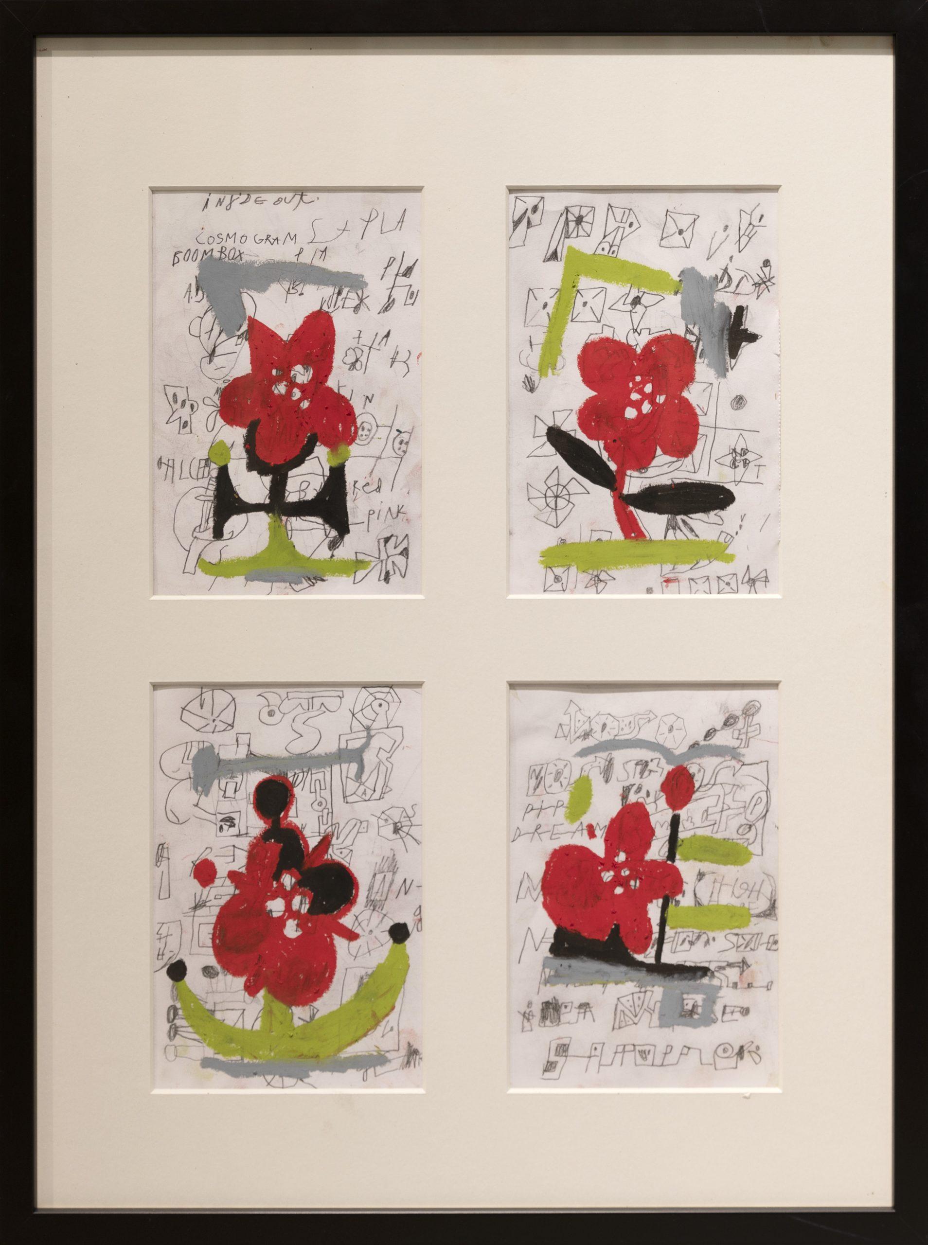 Neljä erillistä piirrosta punaisista kukista, joissa tekstiä ja erinäisiä piirrettyjä kuvioita.
